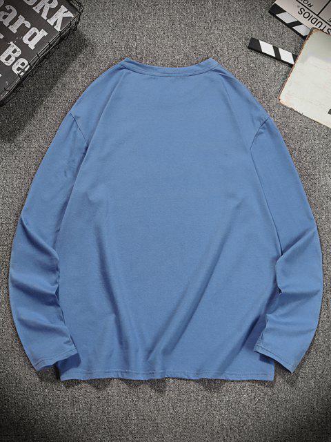 Letter Tiger Print Long Sleeve T-shirt - الحرير الأزرق 2XL Mobile
