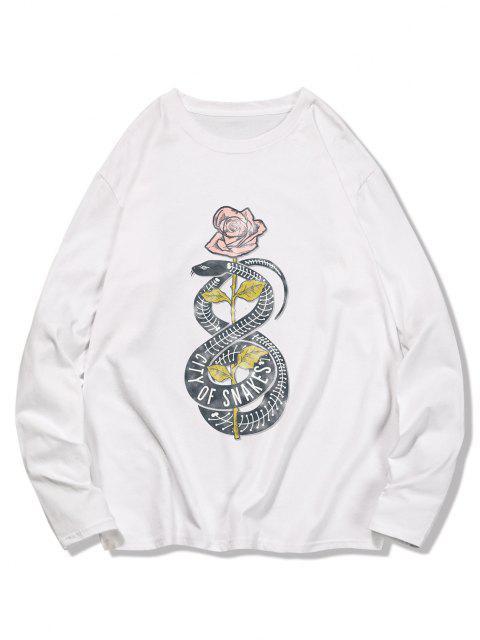 online Snake Flower Print Long Sleeve T-shirt - MILK WHITE XL Mobile