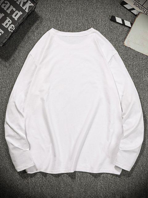 Langärmliges T-Shirt mit Schlangenmuster - Milchweiß 2XL Mobile