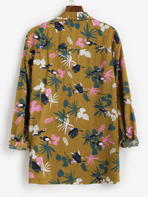 outfits Tropical Leaf Parrot Print Vacation Shirt - BEE YELLOW S Mobile