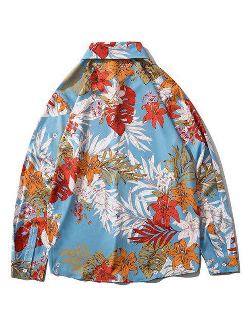 shops Wild Flower Leaf Print Long Sleeve Casual Shirt - LIGHT SKY BLUE M Mobile
