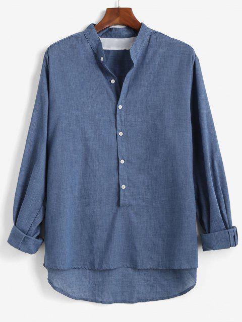 Camisa de Botón de Manga Larga de Color Sólido - Azul Profundo 2XL Mobile