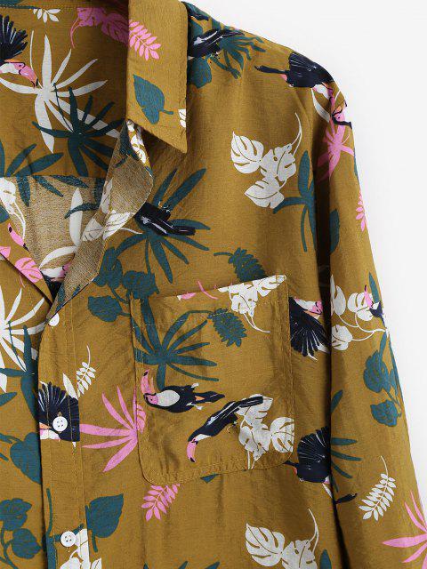Camisa de Vacaciones con Estampado de Hojas Tropicales - Amarilla de Abeja  XS Mobile