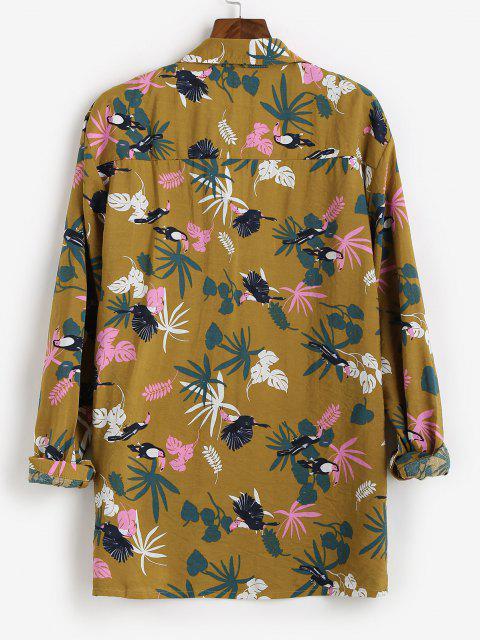 Tropical Leaf Parrot Print Vacation Shirt - نحلة صفراء XS Mobile