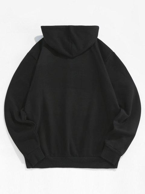 sale ZAFUL Letter Graphic Pattern Kangaroo Pocket Hoodie - BLACK S Mobile