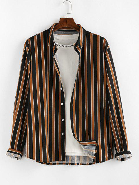 lady ZAFUL Colorblock Stripes Long Sleeve Shirt - DEEP COFFEE L Mobile