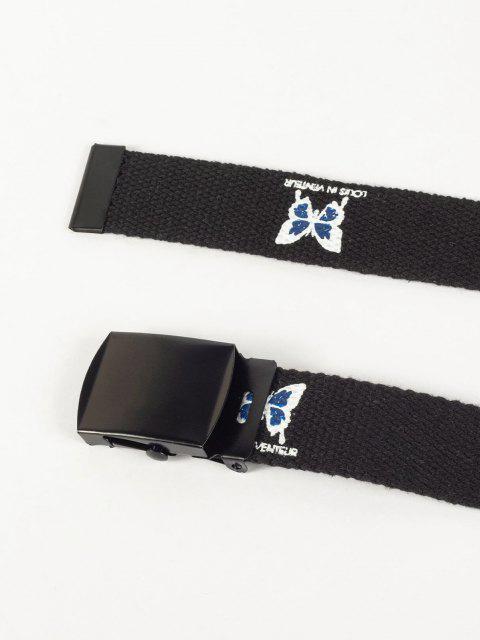 buy Letter Butterfly Print Waist Belt - BLACK  Mobile