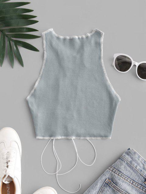Tank Top de Dos Tonos con Panel de Malla de Ganchillo - Gris S Mobile