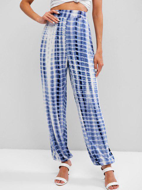 Pantaloni da Jogging a Vita Alta di Tie-Dye - Blu M Mobile