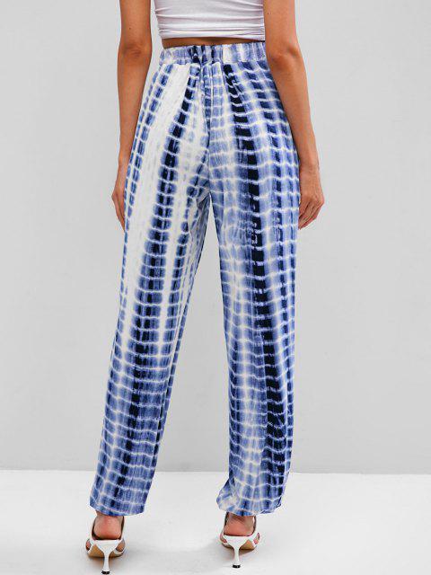 unique High Waisted Tie Dye Jogger Pants - BLUE M Mobile