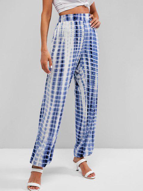 fashion High Waisted Tie Dye Jogger Pants - BLUE XL Mobile