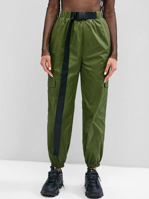 chic ZAFUL Buckle Flap Pocket Windbreaker Cargo Pants - LIGHT GREEN S Mobile
