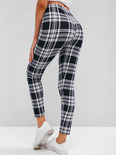 outfit Plaid High Waisted Skinny Leggings - WHITE ONE SIZE Mobile