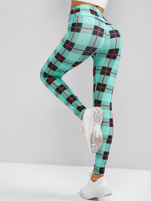 unique Plaid Wide Waistband High Waisted Leggings - LIGHT GREEN S Mobile