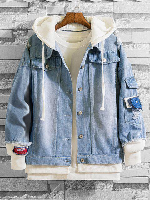Badge Ripped Faux Twinset Hooded Jean Jacket - أزرق فاتح M Mobile
