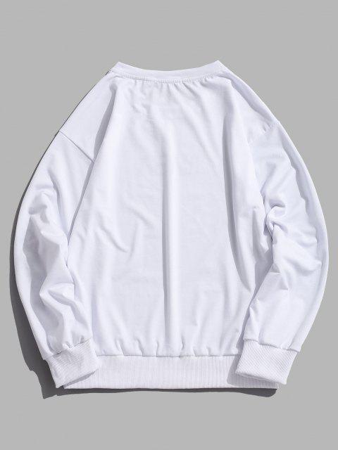 Rose Gesticktes Sweatshirt mit Buchstabe - Weiß 2XL Mobile
