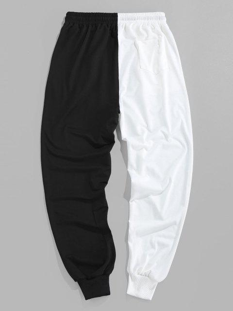 ZAFUL Pantalones Deportivos de Dos Colores con Estampado de Dibujo Animado - Negro S Mobile