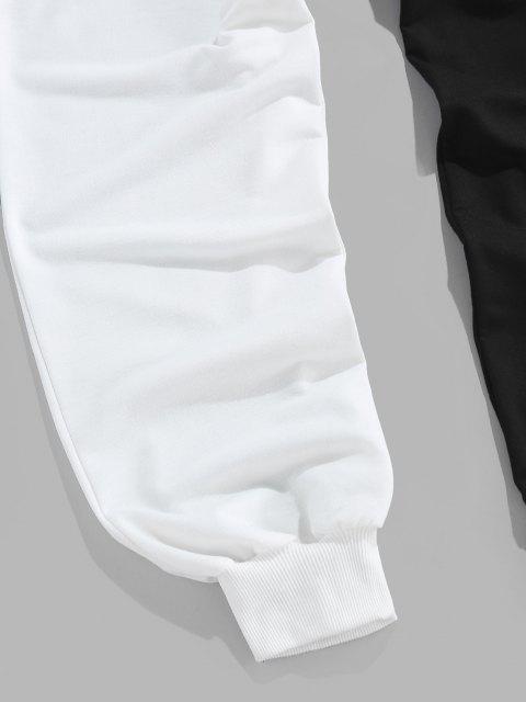 new ZAFUL Cartoon Print Two Tone Sweatpants - BLACK 2XL Mobile