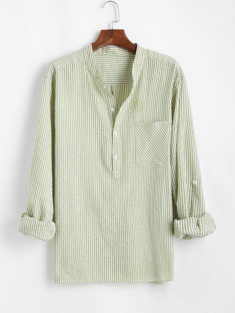 women's Stripes Half Button Chest Pocket Seersucker Shirt - LIGHT GREEN S Mobile