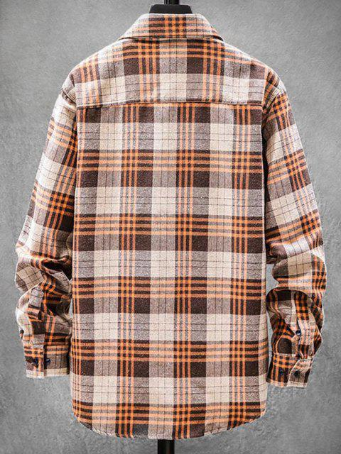 unique Plaid Pattern Pocket Patch Long Sleeve Shirt - BEE YELLOW 3XL Mobile