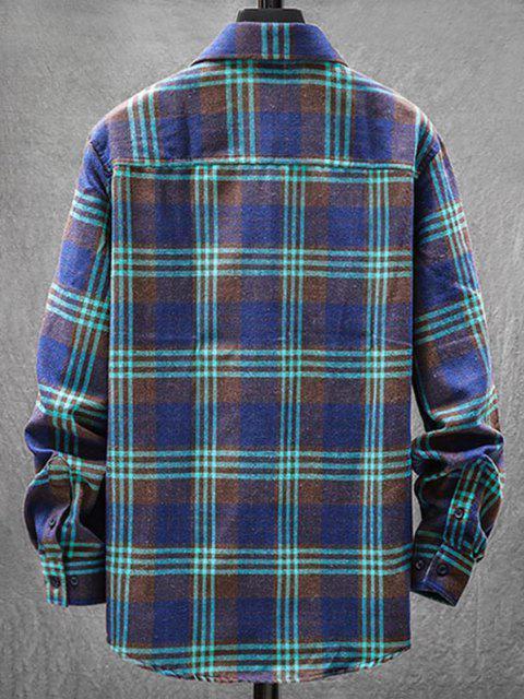 fancy Plaid Pattern Pocket Patch Long Sleeve Shirt - MEDIUM SEA GREEN 2XL Mobile