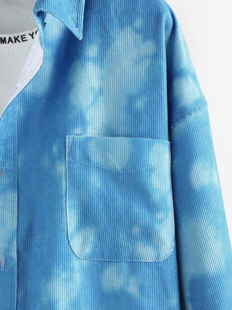 unique ZAFUL Tie Dye Print Pocket Corduroy Shirt - MULTI XL Mobile