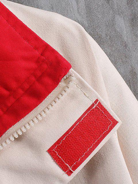 buy Letter Embroidery Raglan Sleeve Colorblock Casual Jacket - BEIGE XS Mobile
