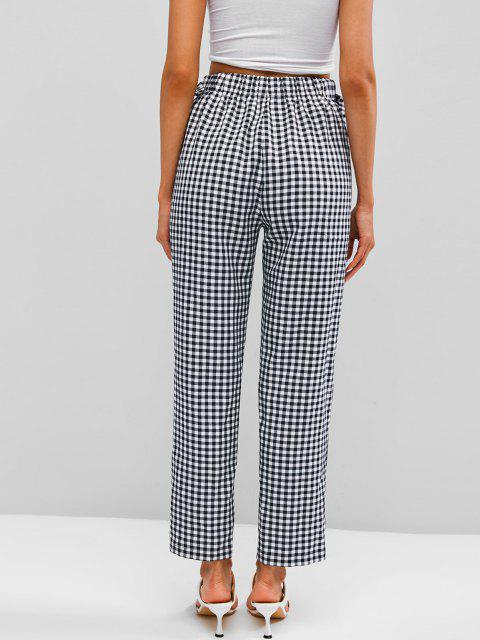 fashion ZAFUL Checked D Ring Pants - BLACK M Mobile