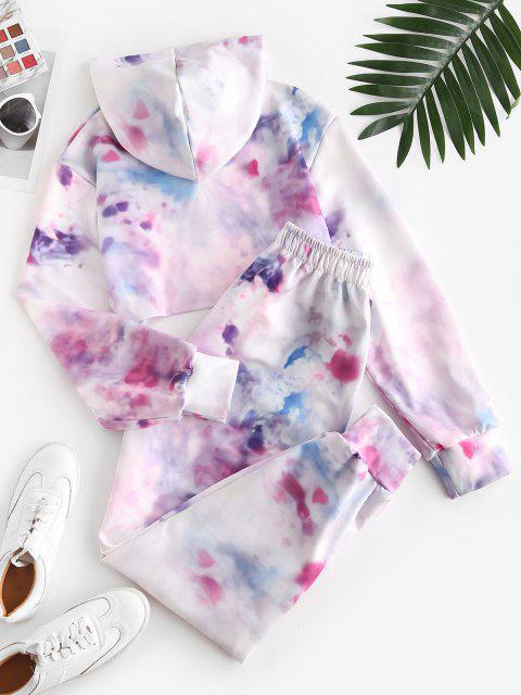 affordable Sweat Tie Dye Cropped Hooded Tracksuit - LIGHT PINK XL Mobile