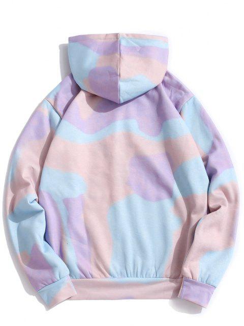 chic Tie Dye Letter Print Kangaroo Pocket Flocking Hoodie - LIGHT PURPLE L Mobile