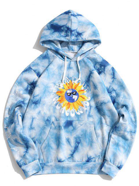 best Funny Sunflower Tie Dye Flocking Hoodie - BLUE S Mobile