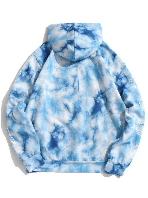 women Funny Sunflower Tie Dye Flocking Hoodie - BLUE XL Mobile