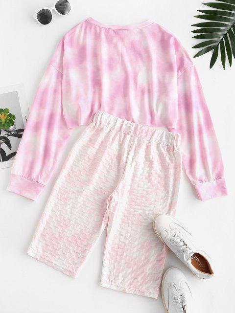 latest Cycling Tie Dye Honeycomb Two Piece Shorts Set - LIGHT PINK S Mobile