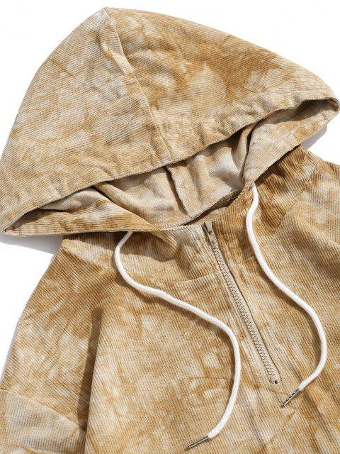 affordable Tie Dye Ribbed Zipper Toggle Corduroy Hoodie - LIGHT YELLOW S Mobile