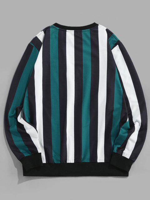 sale ZAFUL Colorblock Stripes Letter Embroidery Sweatshirt - MULTI XL Mobile