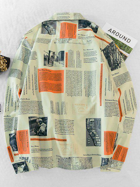 outfit Newspaper Print Long Sleeve Pocket Shirt - MULTI-A XS Mobile