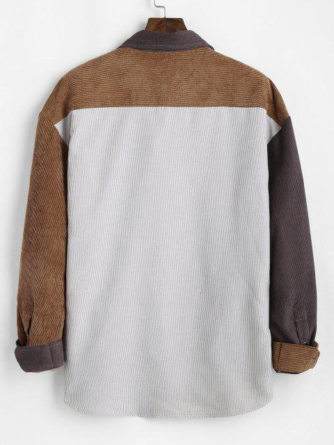 shops Colorblock Panel Pocket Patch Ribbed Long Sleeve Shirt - DEEP YELLOW S Mobile