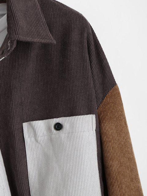 trendy Colorblock Panel Pocket Patch Ribbed Long Sleeve Shirt - DEEP YELLOW M Mobile