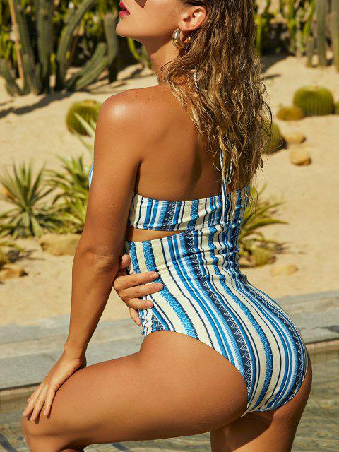 online ZAFUL Ribbed Halter Cutout Backless One-piece Swimsuit - BLUE S Mobile