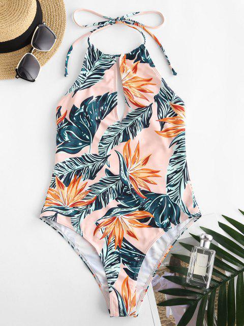 latest ZAFUL Tropical Print Halter Backless Keyhole One-piece Swimsuit - LIGHT ORANGE XL Mobile