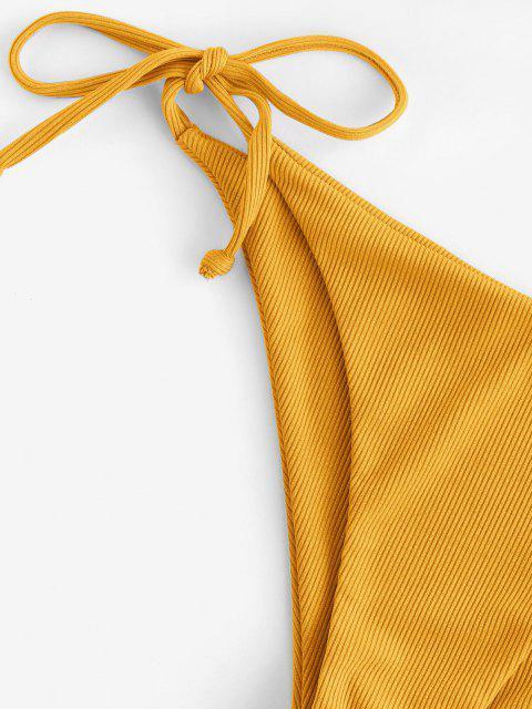 ZAFUL Bikini Acanalado con Volantes - Amarillo profundo S Mobile