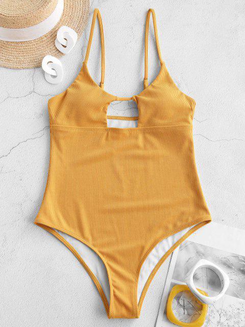 ZAFUL Badebekleidung mit Hohem Schnitt und Rippen - Dunkel gelb S Mobile
