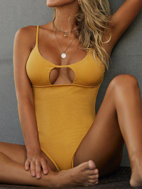 unique ZAFUL High Cut Ribbed Cutout One-piece Swimsuit - DEEP YELLOW S Mobile