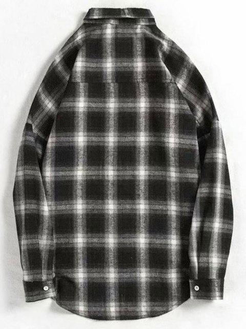 ロングスリーブプラッドは、湾曲した裾シャツを印刷します - ブラック S Mobile