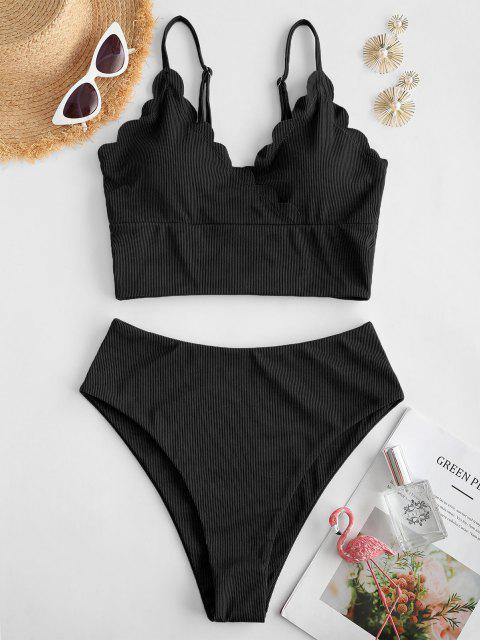 affordable ZAFUL Ribbed Scalloped Surplice Tankini Swimwear - BLACK L Mobile