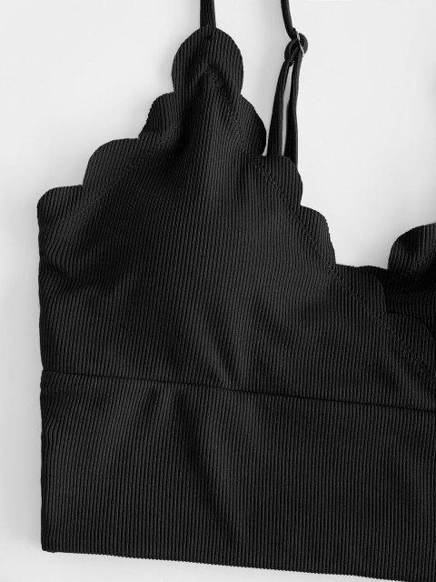 ZAFUL Maillot de Bain Tankini Festonné Côtelé Superposé - Noir 2XL Mobile