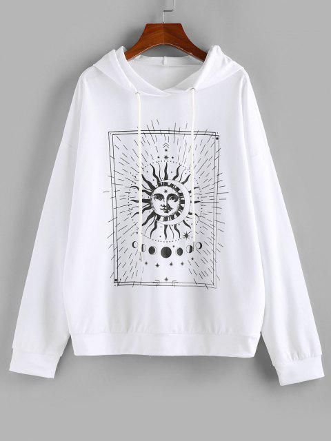 best ZAFUL Sun and Moon Phase Print Pullover Hoodie - WHITE XL Mobile