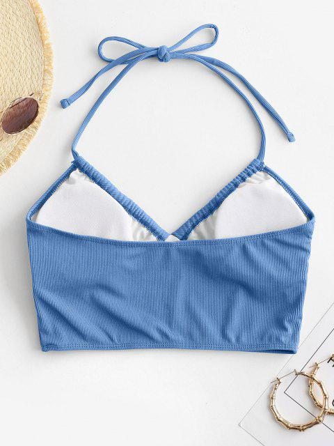 shops ZAFUL Halter Ribbed Cropped Bikini Top - BLUE S Mobile