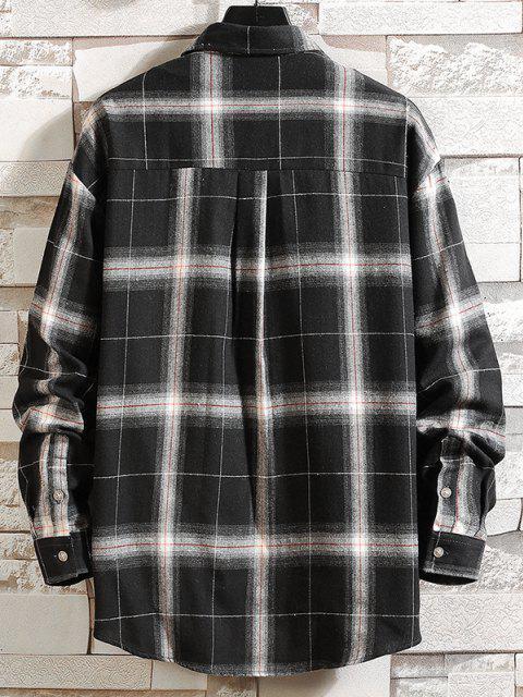 best Curved Hem Plaid Print Pocket Shirt - BLACK L Mobile