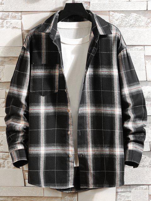 湾曲した裾チェック柄ポケットシャツ - ブラック XS Mobile